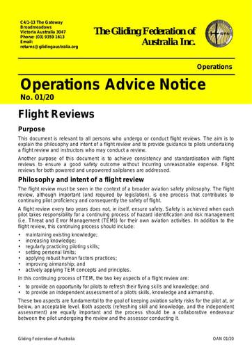 2020 - OAN 01/20 Flight Reviews