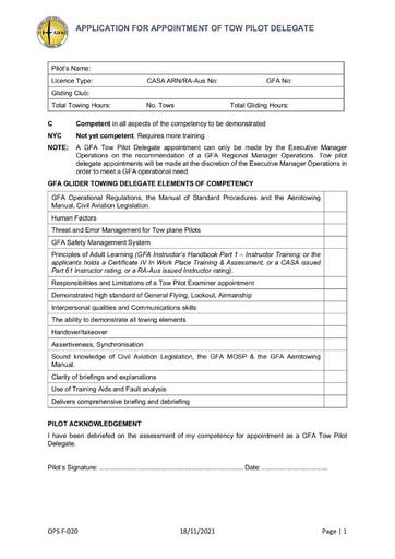 Tow Pilot Endorsment Applications