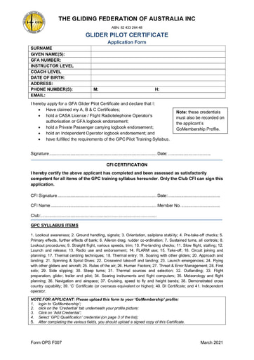 GLIDER PILOT CERTIFICATE APPLICATION FORM (OPS F007)