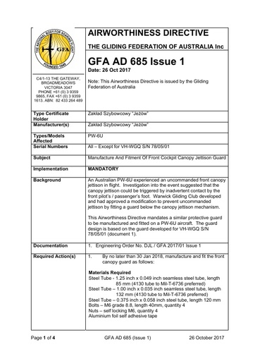 GFA AD 685 Issue 1